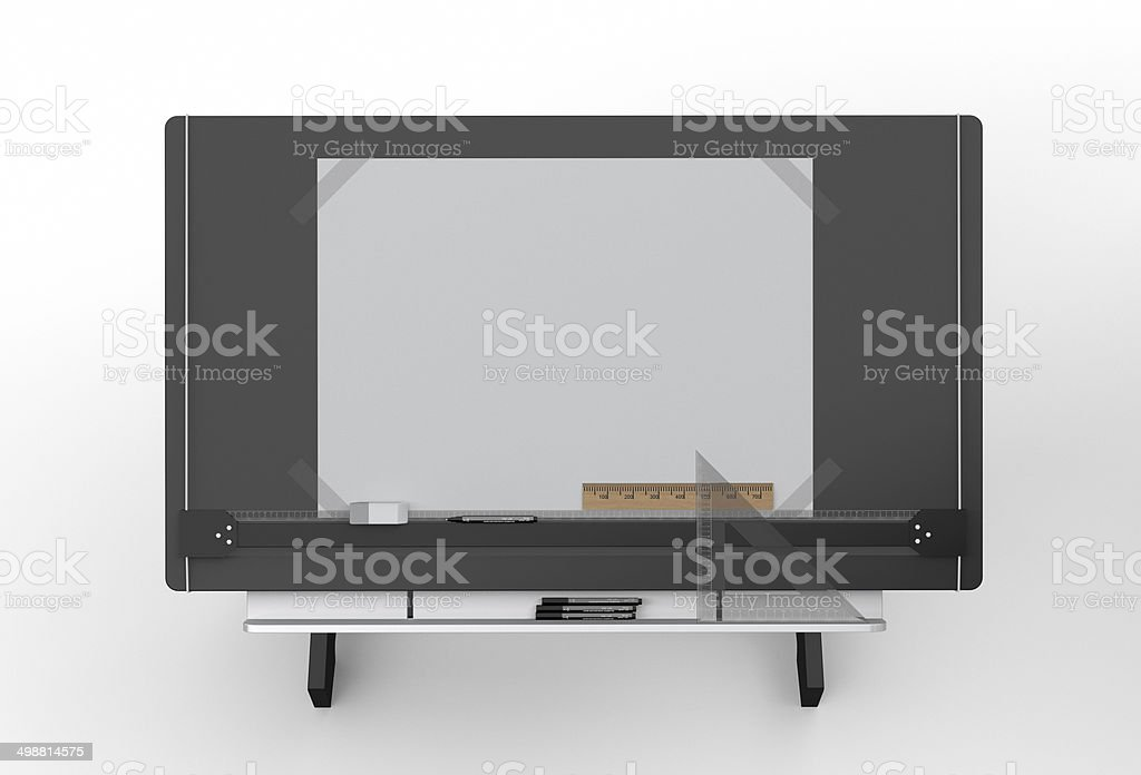 Top of black drawing table with tools ,clipping path included stock photo
