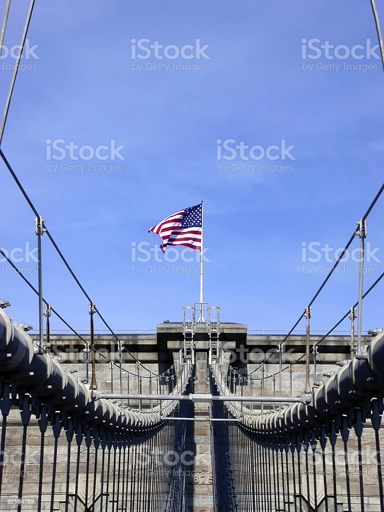 Top of Brooklyn Bridge royalty-free stock photo