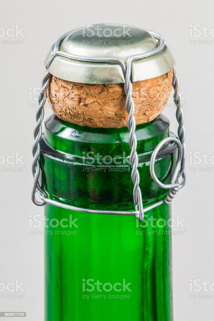 Top of champagne bottle stock photo