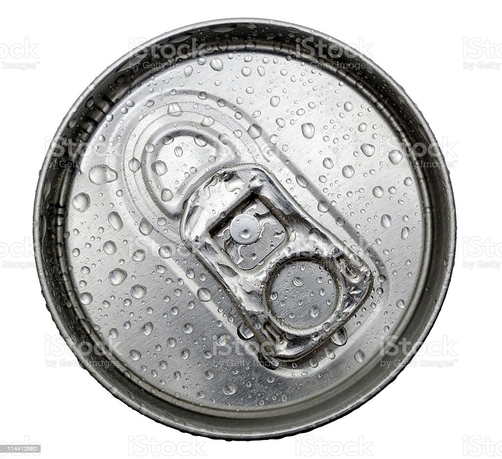 Top of chilled soda can Ring pull isolated against white royalty-free stock photo