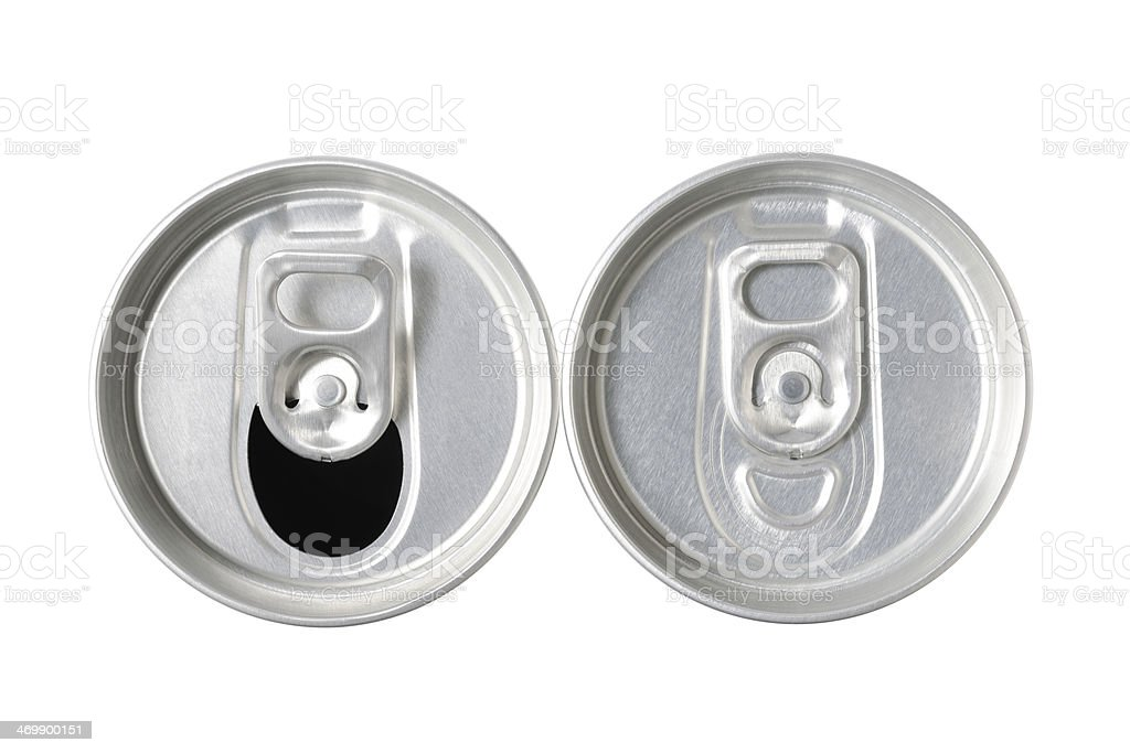 Top of closed or opened drink can on white background stock photo