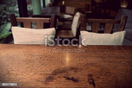 1013514594istockphoto Top of empty wood table with Bar Cafe Restaurant blurred backgro 800476824
