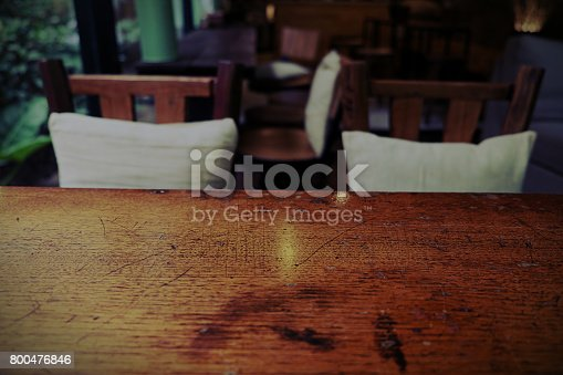 1013514594istockphoto Top of empty wood table with Bar Cafe Restaurant blurred backgro 800476846