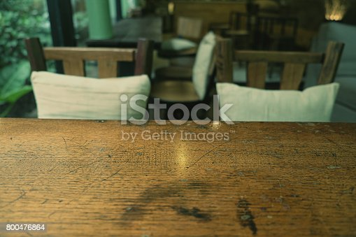 1013514594istockphoto Top of empty wood table with Bar Cafe Restaurant blurred backgro 800476864