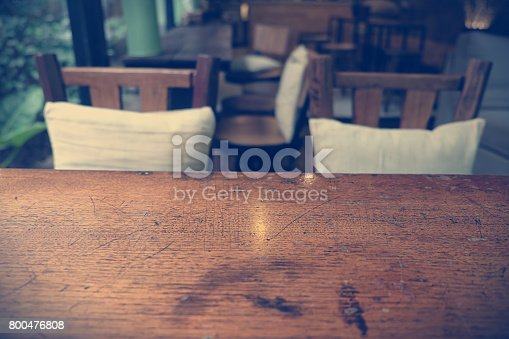 1013514594istockphoto Top of empty wood table with Bar Cafe Restaurant blurred background, product display template, Business presentation 800476808