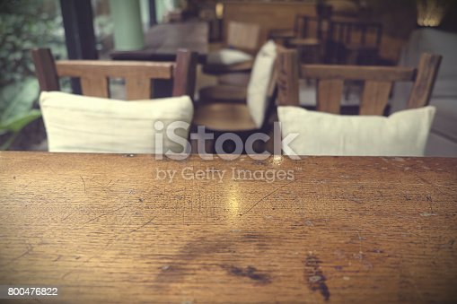 1013514594istockphoto Top of empty wood table with Bar Cafe Restaurant blurred background, product display template, Business presentation 800476822