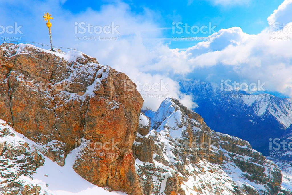 Top of Germany: Zugspitze summit and Bavarian alps above clouds, Garmisch – Germany stock photo