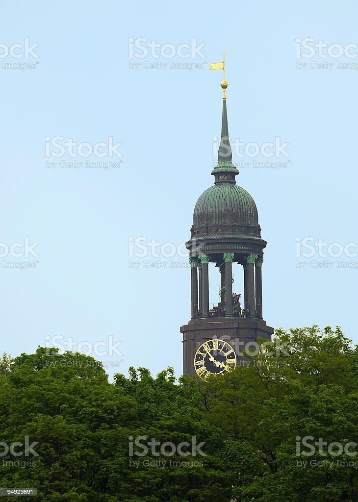Top of hamburg's main church St. Michaelis stock photo
