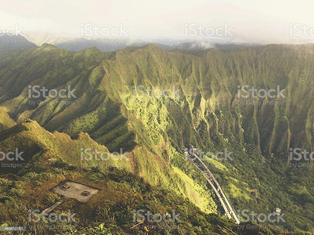 Top Of Ko'olau Mountain Range Morning Light View Highway stock photo