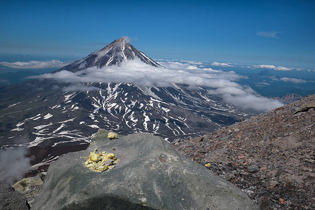Top of Koryaksky Volcano seen from Avachinksy Volcano stock photo