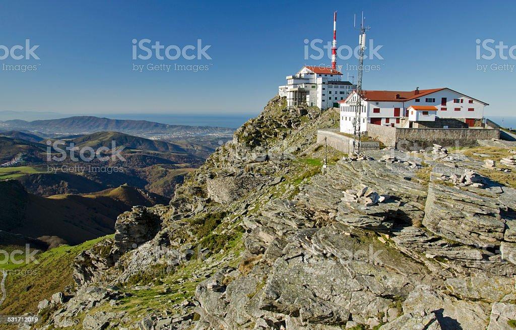 Top  of La Rhune mountain in Atlantic Pyrenees stock photo