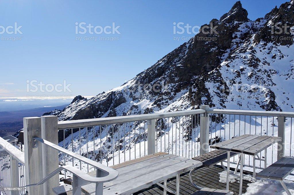 Top of Mount Ruapehu in Tongariro National Park, New Zealand stock photo