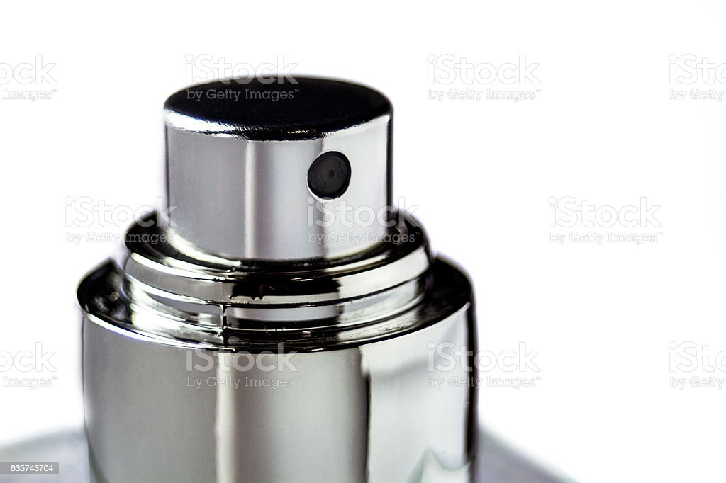 Top of perfume spray bottle isolated on white background - foto de acervo