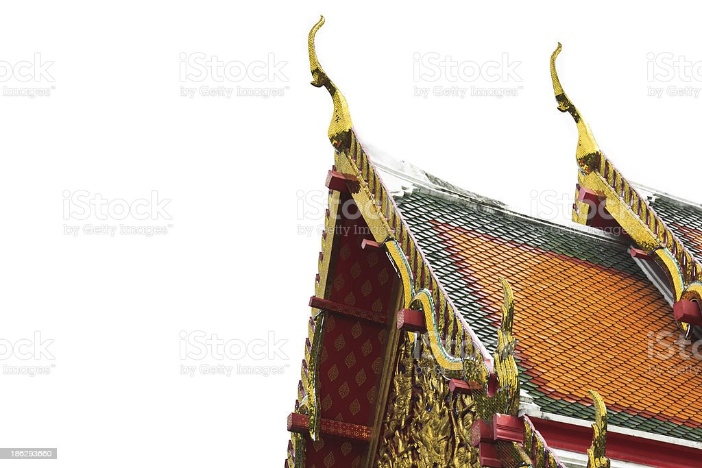 Top of roof at Thai temple royalty-free stock photo