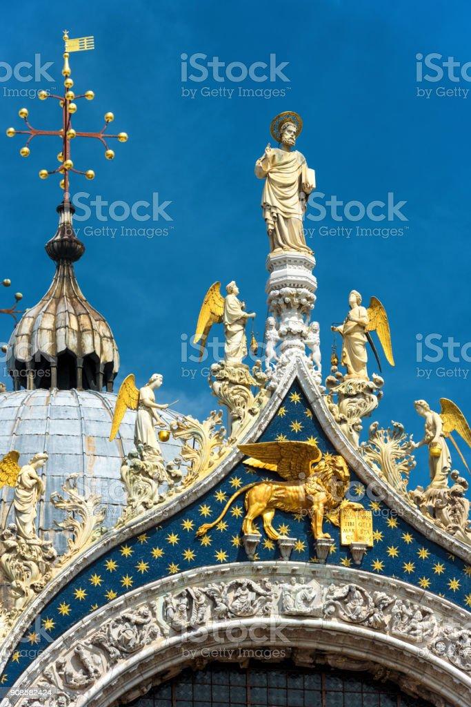 Top of Saint Mark`s Basilica in Venice, Italy stock photo