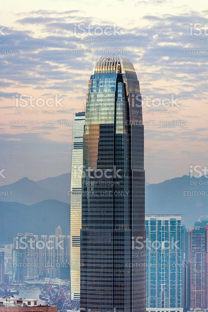 top of skyscraper by night with panorama of Hong Kong stock photo
