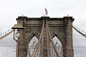 View of the top of the Brooklyn Bridge