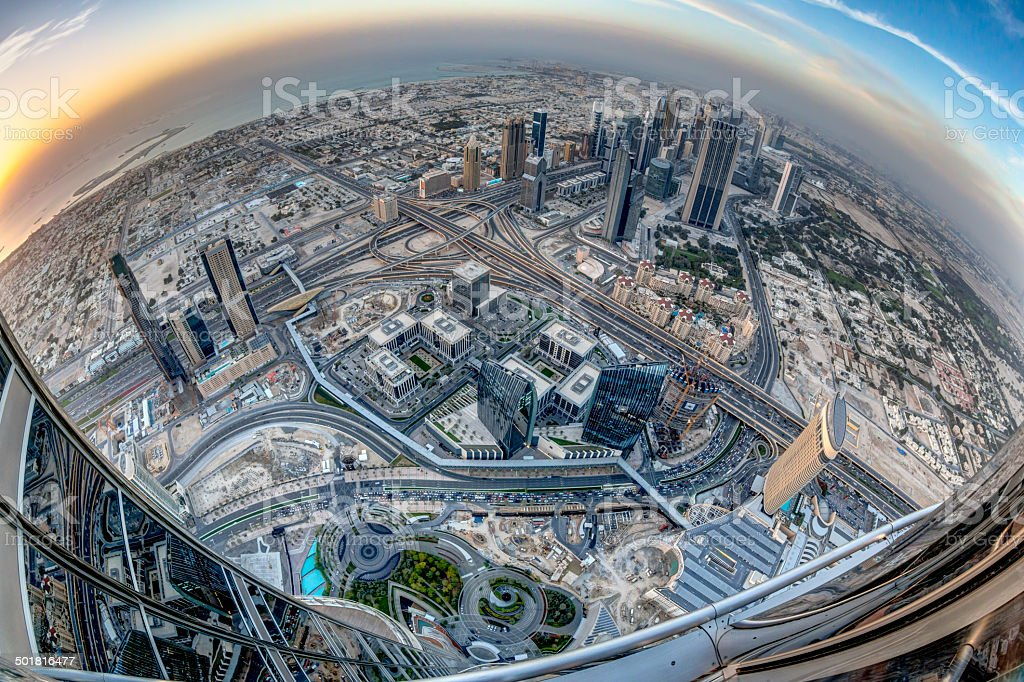 Top of the burj kalifa in Dubai, UAE stock photo