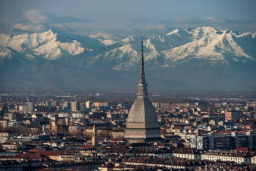 Top of the center of Turin, the mountains on background