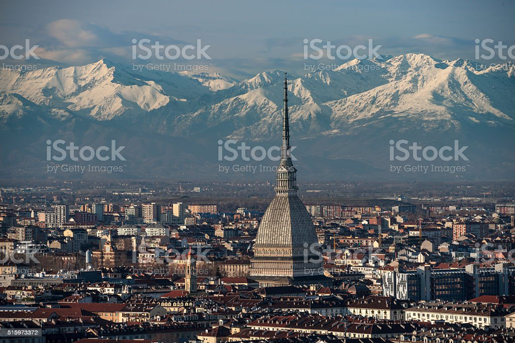 Top of the center of Turin, the mountains on background stock photo