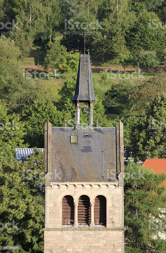 Top of the church tower of St. Anna in Sulzbach Lizenzfreies stock-foto