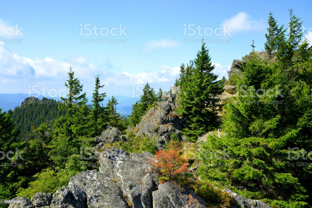 Top of the mountain Grosser Osser in National park Bayerischer Wald, Germany. stock photo
