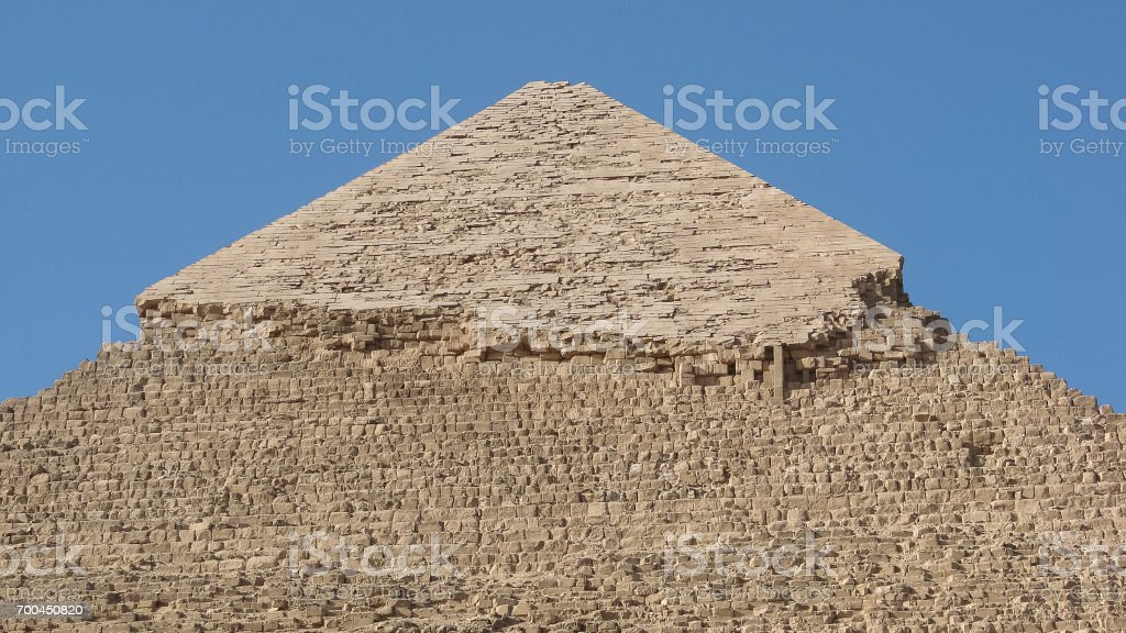 Top of the pyramid of Khafra in giza stock photo