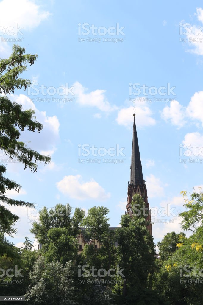 Top of the Three King's Church at Frankfurt, Germany stock photo