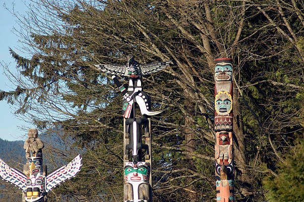Top of the Totem - Stanley Park stock photo