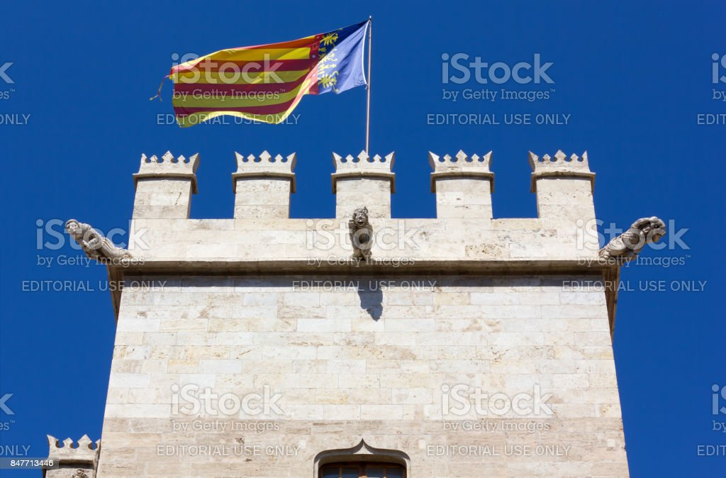Top of the Tower of the Silk Market Palace in Valencia stock photo