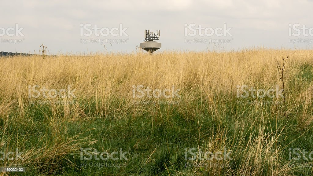 Top of the water tank with radio transmitters stock photo