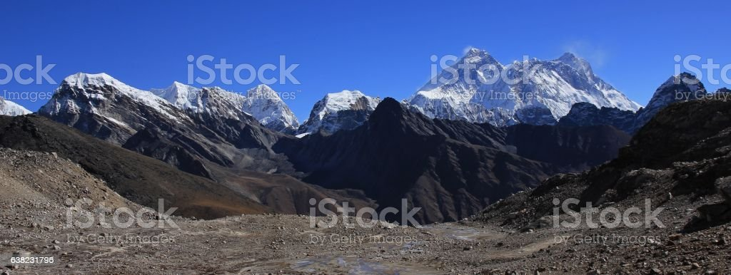 Top of the world, mount Everest and other high mountains stock photo