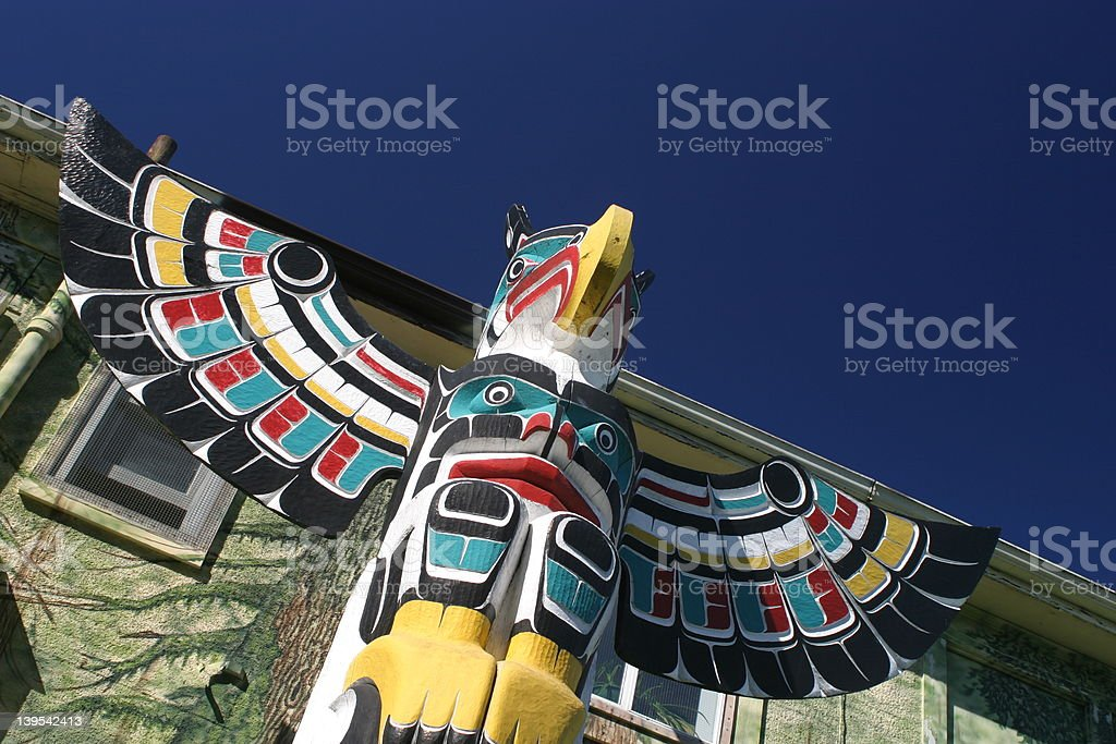 Top of Totem pole stock photo