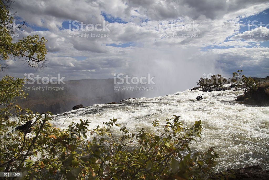 Top of Victoria Falls, Zambia stock photo