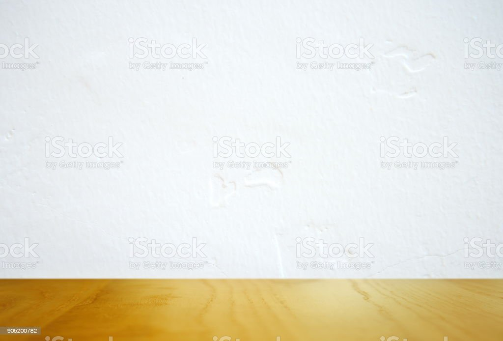 top of wood texture and white cement wall background stock photo