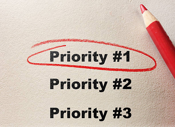 Top Priority Priority #1 circled with red pencil beat the clock stock pictures, royalty-free photos & images