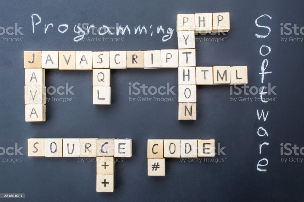 Top programming languages concept on blackboard background stock photo