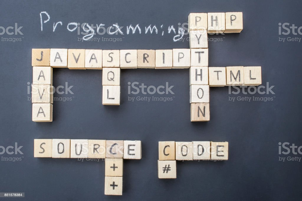 Top programming languages concept on blackboard stock photo