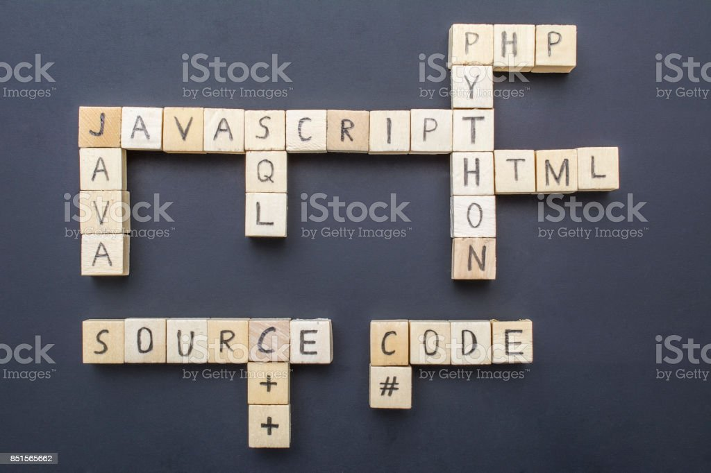 Top programming languages concept stock photo