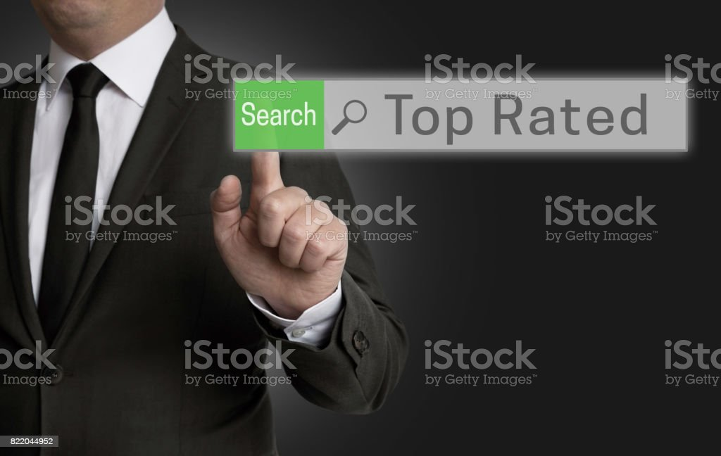 Top Rated browser is operated by businessman concept stock photo