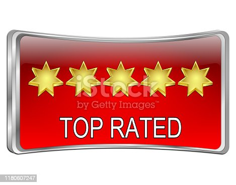 red curved top rated button - 3D illustration