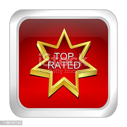 red top rated button - 3D illustration