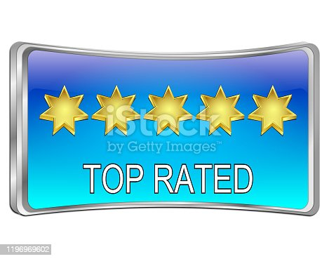 glossy blue top rated button - 3D illustration