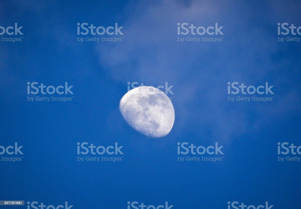 Top right day moon stock photo