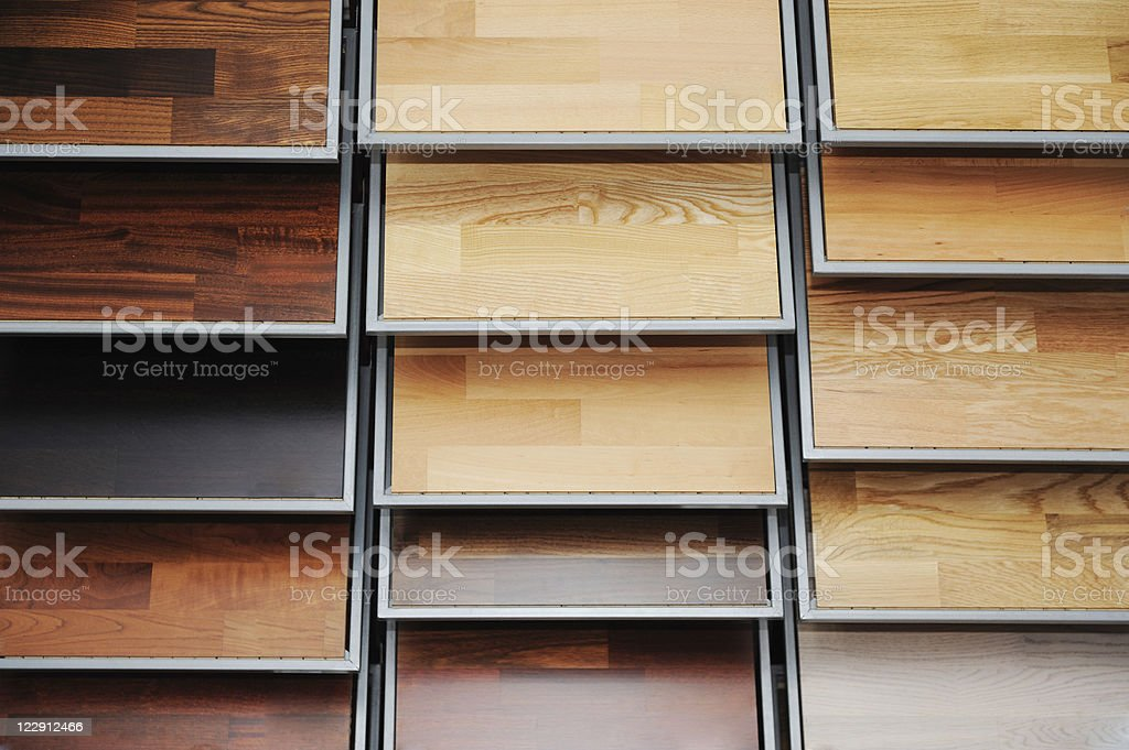 Top samples of various color palette - wooden floor stock photo