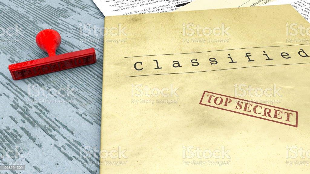 En haut de document secret, timbre, informations déclassifiées, confidentielles, secret texte. Information non publique. Feuille de papier avec des informations classifiées - Photo
