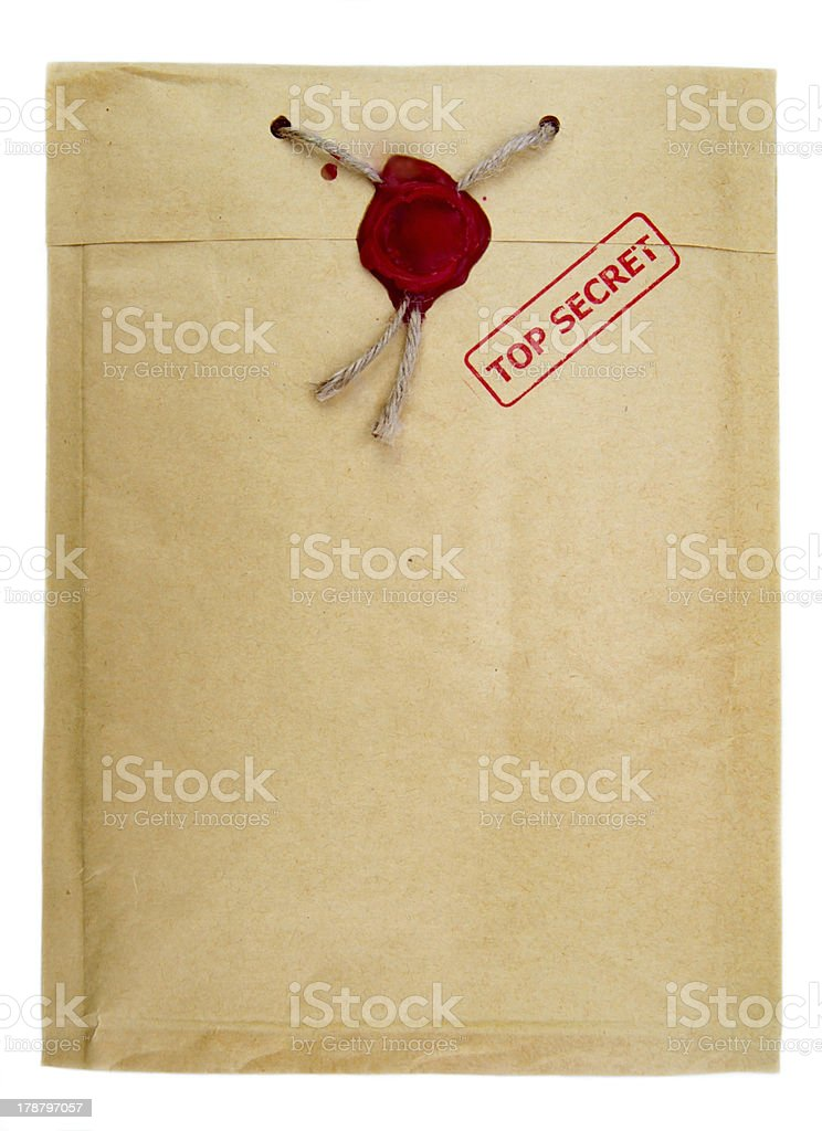 Top secret mail with knotted rope and wax seal stock photo