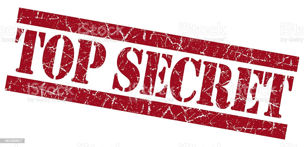 Top secret red grunge stamp stock photo