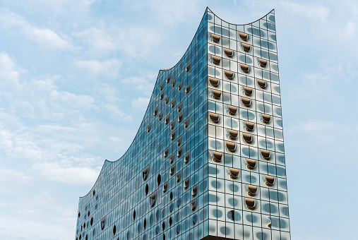 Top shape of Elbphilharmonie with his single white windows, Hamburg, Germany