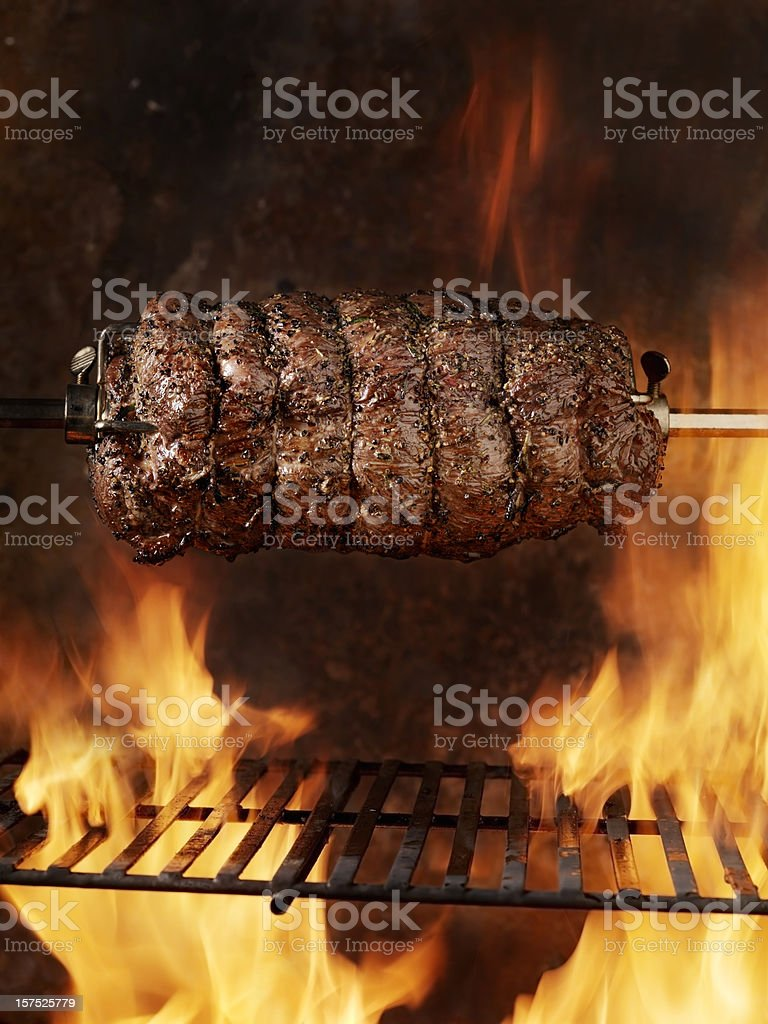 Top Sirloin Beef Roast on the BBQ royalty-free stock photo